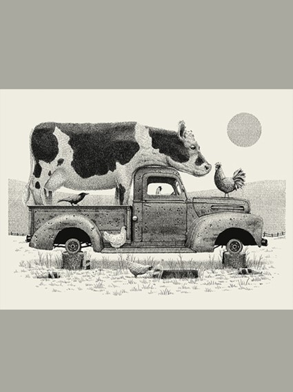 screen print, wall art, home decor, art, print, cow, truck, country chic, farm house